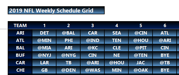 photograph about Printable Nfl Schedule Grid titled Myth Soccer Empire