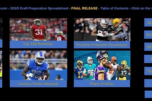 2020 Fantasy Football Draft Preparation Spreadsheet