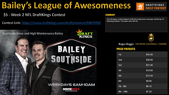 2020 Bailey's League of Awesomeness Draf