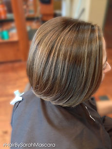 Caramel highlights on shorter dark hair
