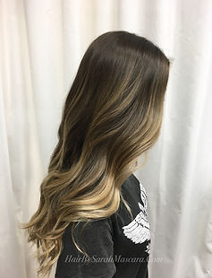 sunkissed highlights long bob