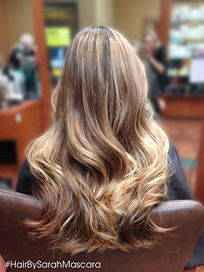 Warm blonde tone balayage