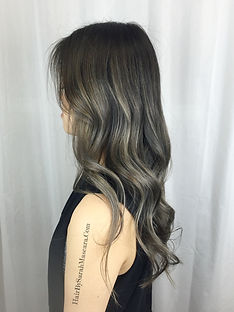ash silver balayage black hair