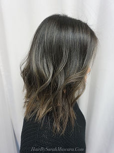 ash balayage on dark hair
