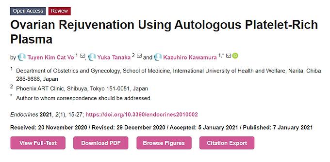 Ovarian Rejuvenation: using platelet-rich plasma injections into ovaries