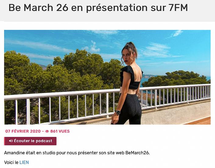 Be March 26 en présentation sur 7FM