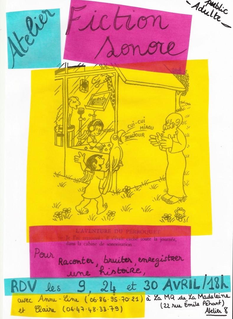 """Affiche d'atelier """"Fiction sonore"""""""