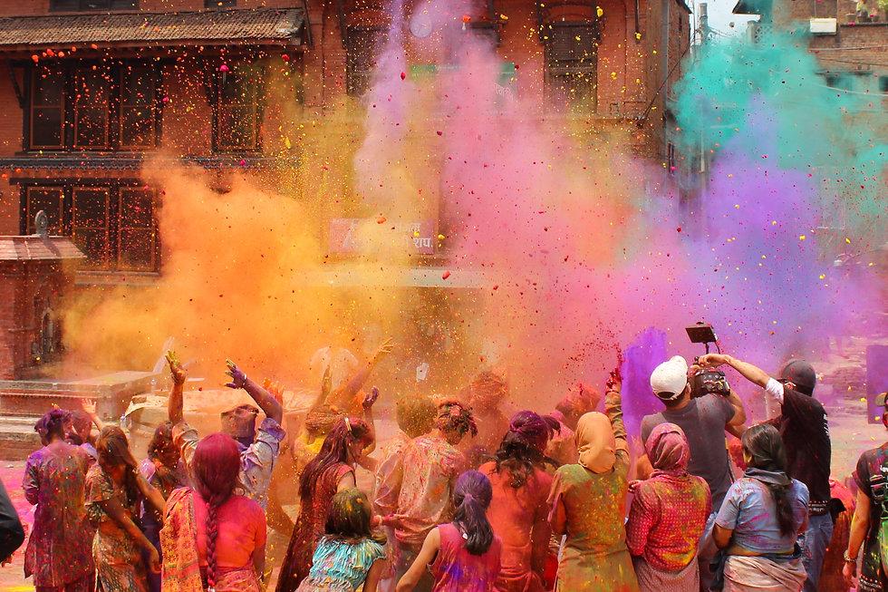 Holi celebration in Nepal or India