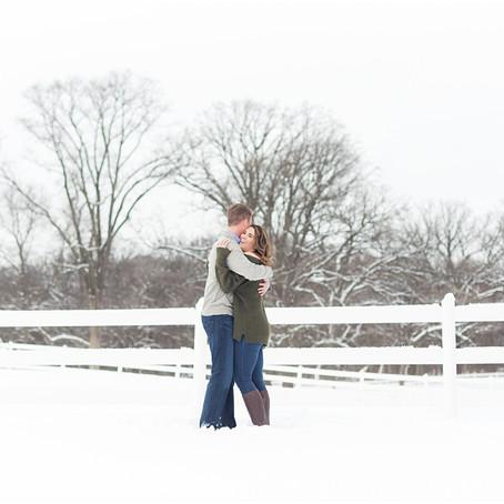 St James Farm Winter Engagement Photos, Kacie + Will
