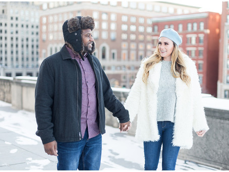 Indiana War Memorial Plaza Engagement Session in downtown Indianapolis | Shannon + Ricky