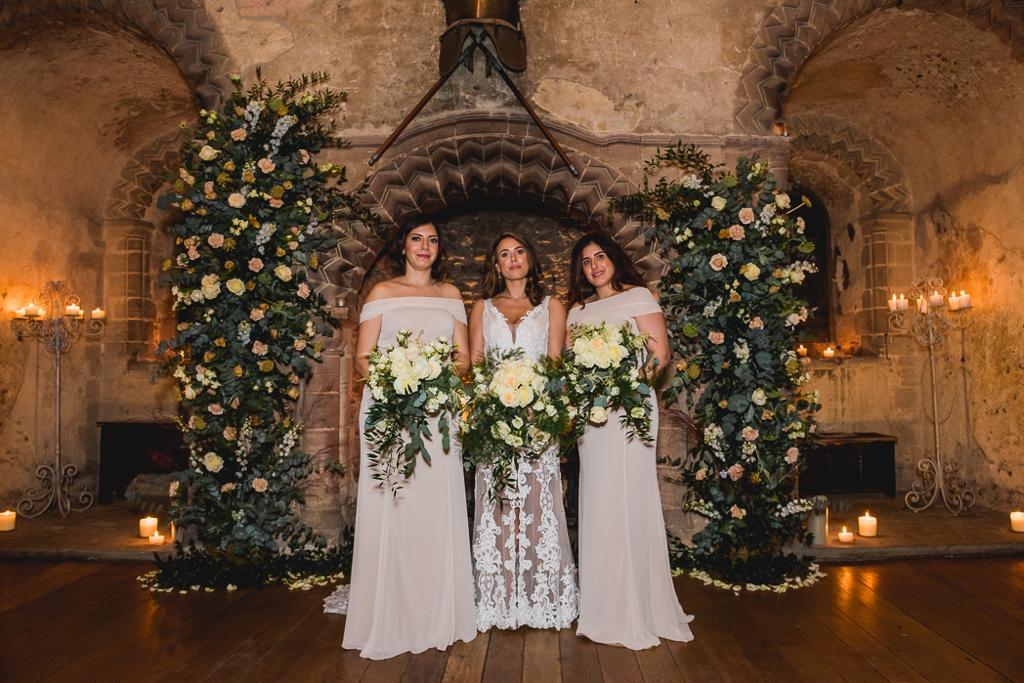 Bridal party at Hedingham castle