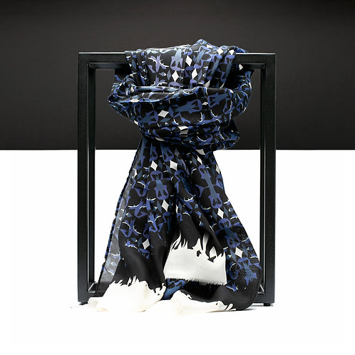'Maze Net Ink' Cotton/Silk Scarf