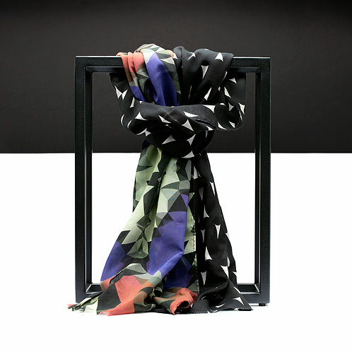 'Prism Rain' Cotton/Silk Scarf