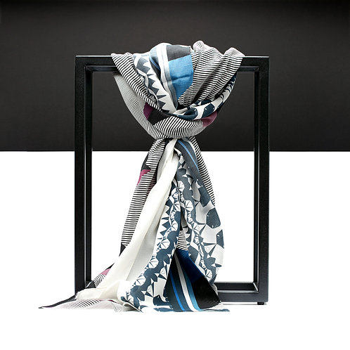 'Prism Pyramids' Cotton/Silk Scarf