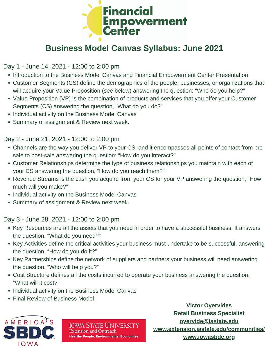 Business Model Canvas Syllabus June 2021