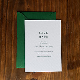 Dark green wedding save the date