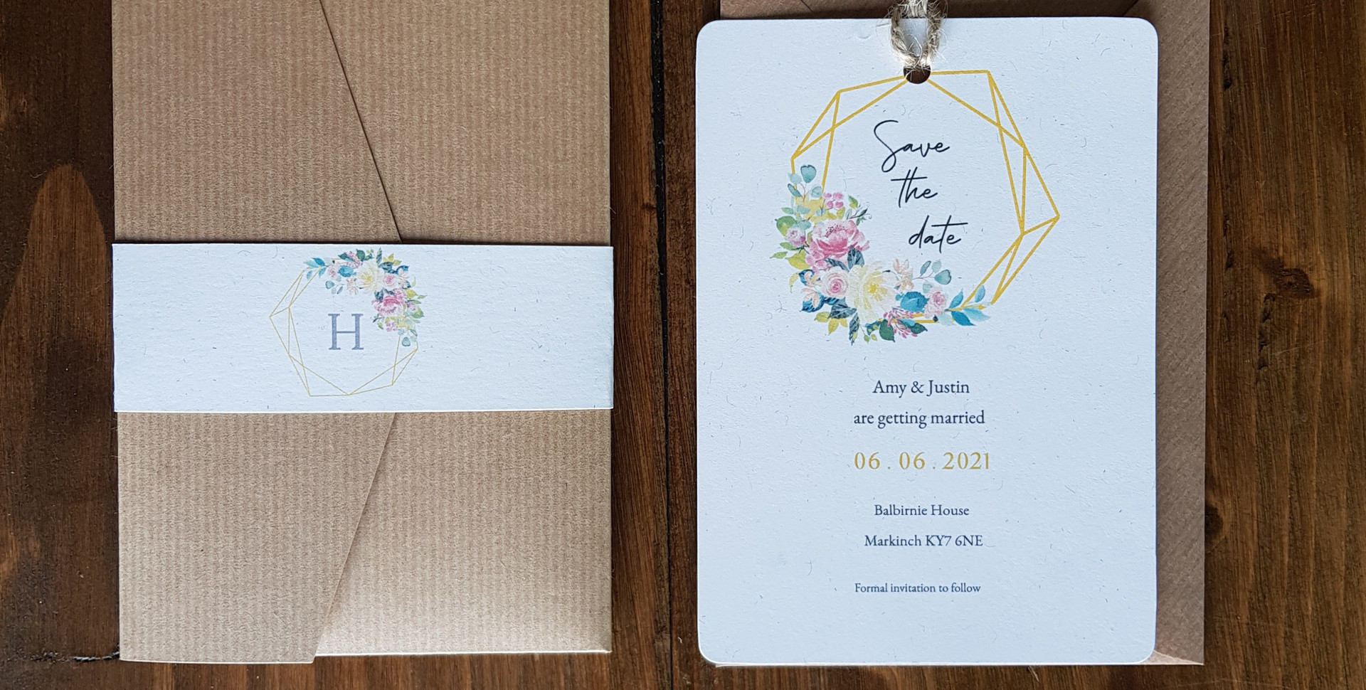 Amy - Save the date and day wedding invitati