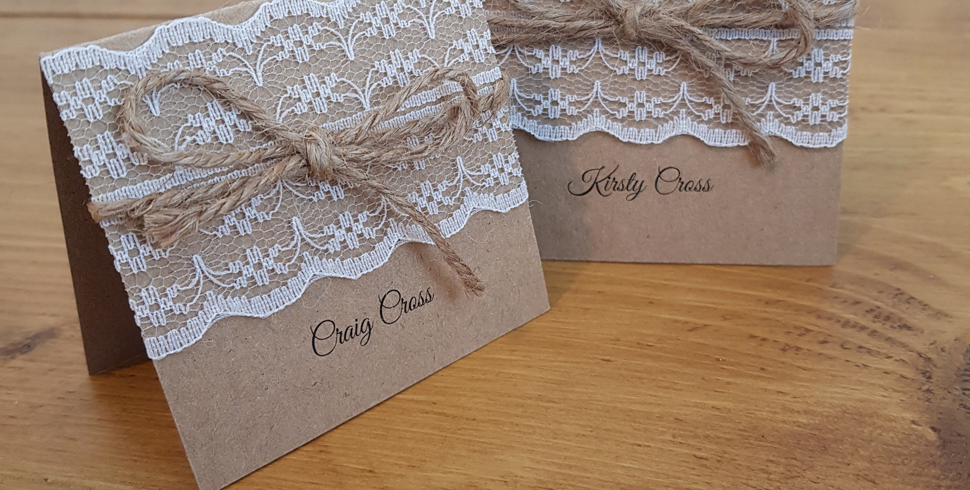 Amy - Place names with lace and twine details.