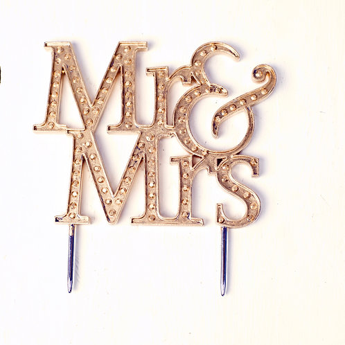 'Now That We're Married' - Mr & Mrs Gold Cake Topper