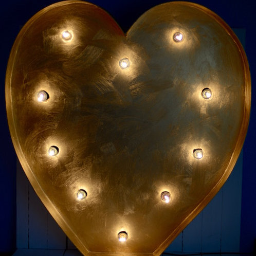 'My Heart Beats For You' - Large Marquee Light Heart