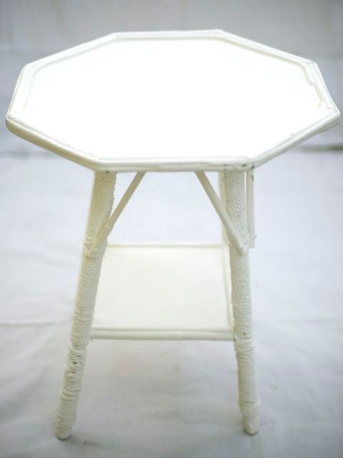'Hex' - White Vintage Split Cane Table