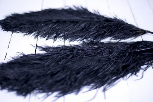 'Black Bird Bye Bye Large' - Black Ostrich 55