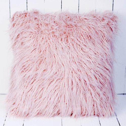 Pink faux fur cushion hire Brisbane wedding & event hire