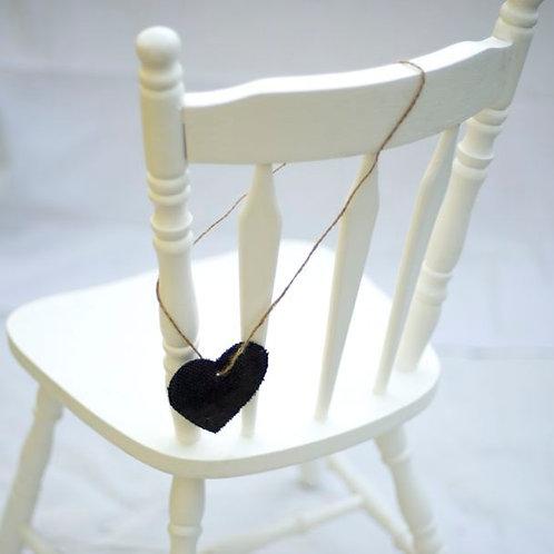 'Tammy' - Navy Burlap Chair Heart