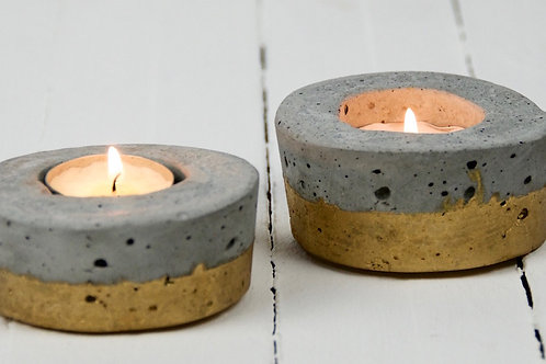 Industrial concrete & gold tea light holder hire Brisbane wedding & event styling