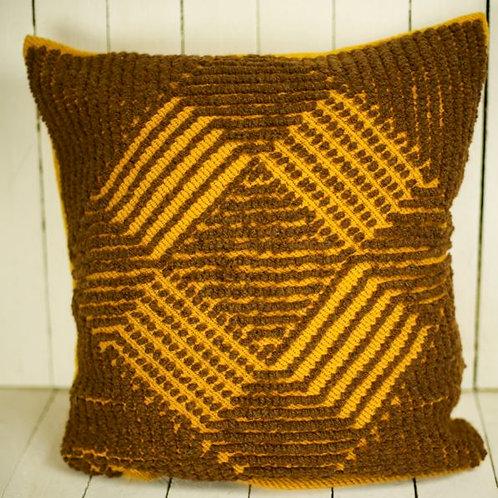 'Deidre' - Retro Yellow & Brown Cushion