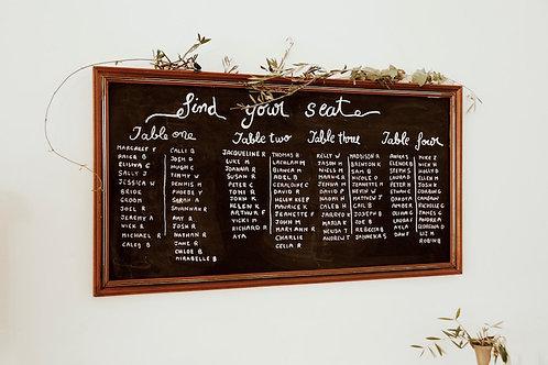 Large retro framed chalkboard hire Brisbane wedding & event styling