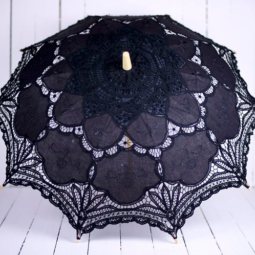 'Miss Black Beauty' Black Battenburg Lace Parasol