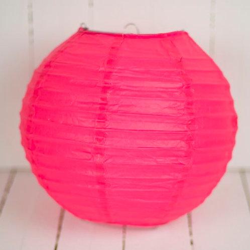 'Rice Fluoro Pink' - Pink Paper Lantern 10 Inch