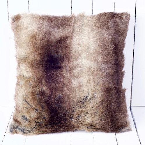 'Randolph The Faux Reindeer Cushion' - Brown Faux Fur Cushion