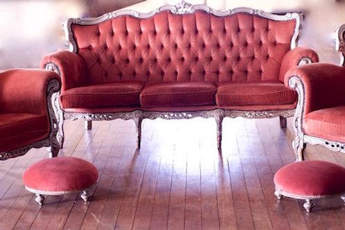 Parlour Puff - Vintage Pink Velvet Lounge Suite