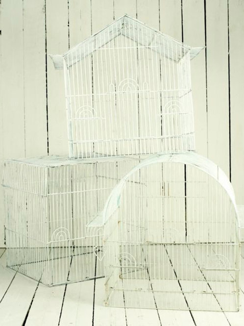 'Canary' Large Vintage White Bird Cages
