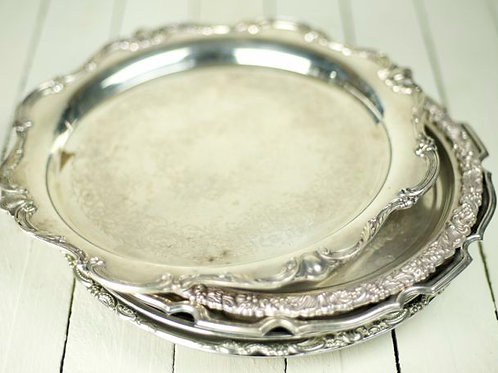 'Victoria' - Large Vintage Silver Trays