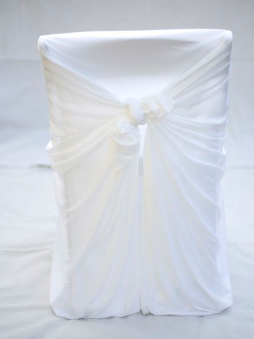 """Maeve' - White Tie-Back Universal Chair Cover"