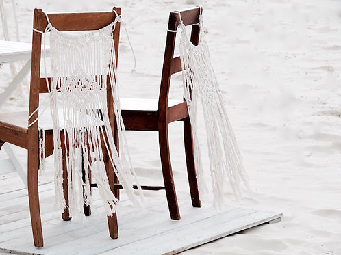 Cream macrame chair back hire Brisbane wedding & event styling at beach wedding Stradbroke Island