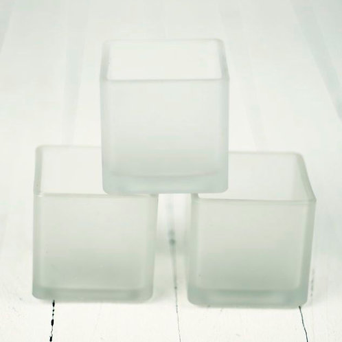 'Snowflake' Lg Square Frosted Tea Light Holder
