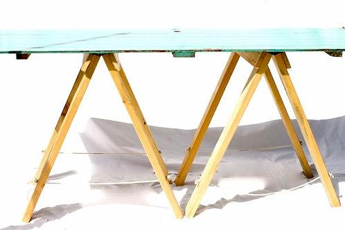 'Merle' - Green Vintage Trestle Table