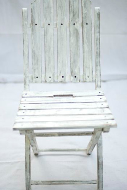 'Mary'- White Shabby Chic Folding Chair