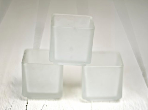 'Snow' Square Frosted Tea Light Holder