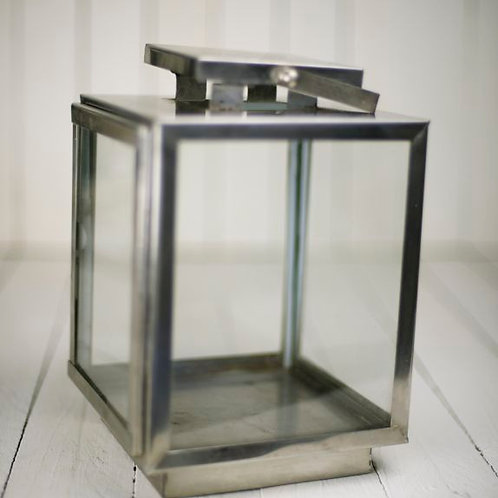 'Chrome' Rustic chrome & glass lantern