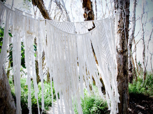 Macrame wall hanging & bunting hire Brisbane beach wedding styling