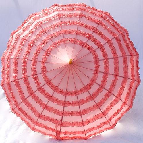 Miss Blush Frill' Pink Frilled Parasol
