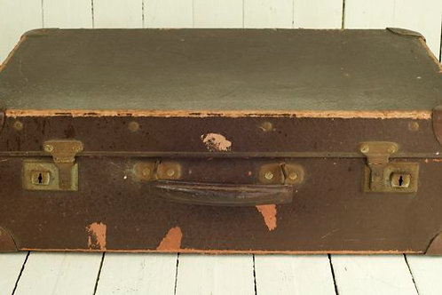 'Bon Voyage Three' Brown Vintage Suitcase