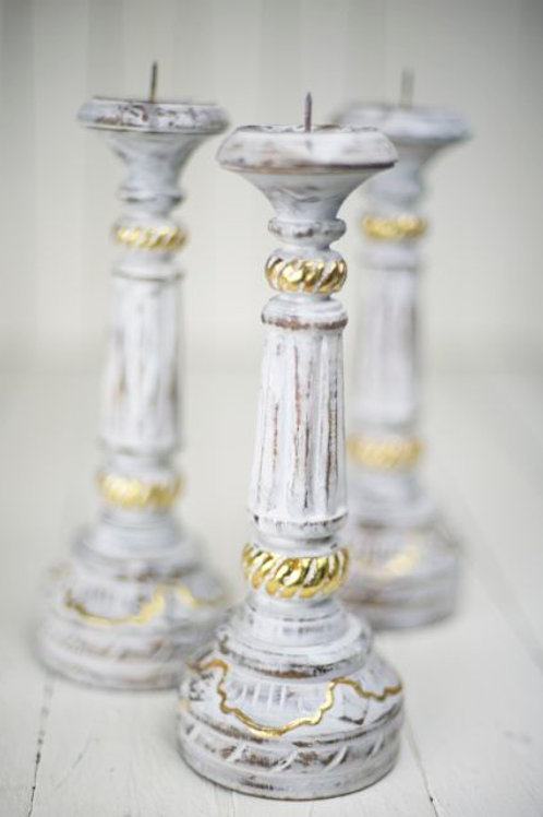 'Apollo' White & Gold Wooden Candlesticks