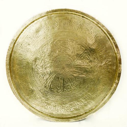 'Alpha Beta Brass' - Large Round Brass Tray