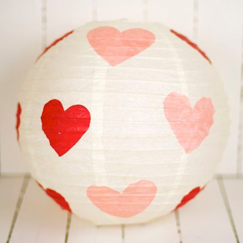 'Rice Heart' - Pink Heart Paper Lantern 12 Inch